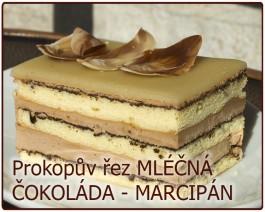 řez MLÉČNÁ ČOKOLÁDA - MARCIPÁN